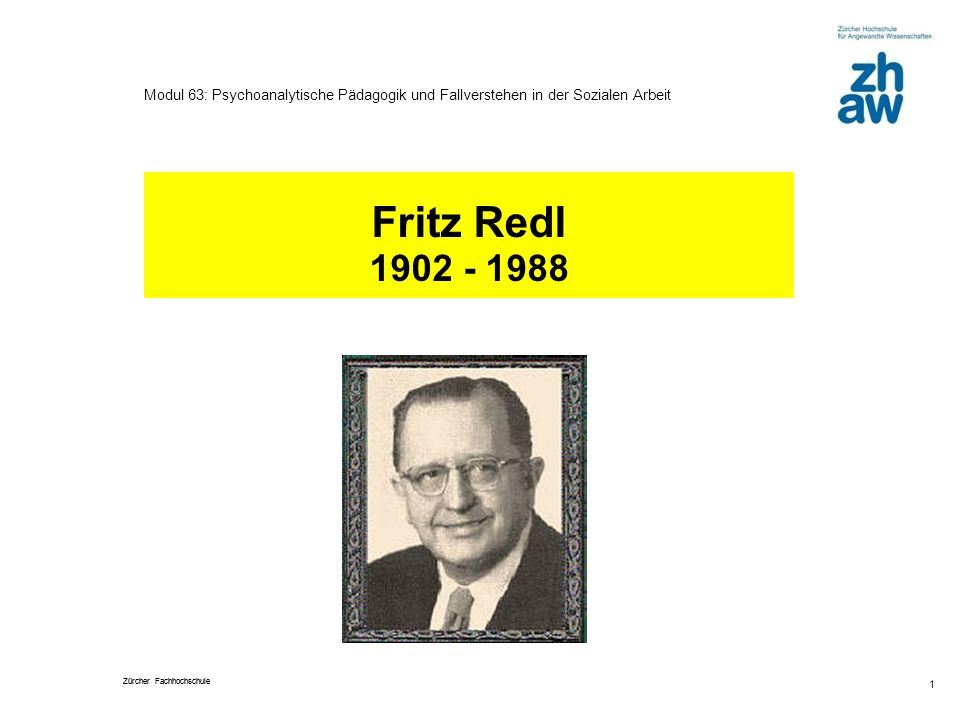 Fritz Redl 1902 - 1988 Hanspeter Hongler, Jan. 2010
