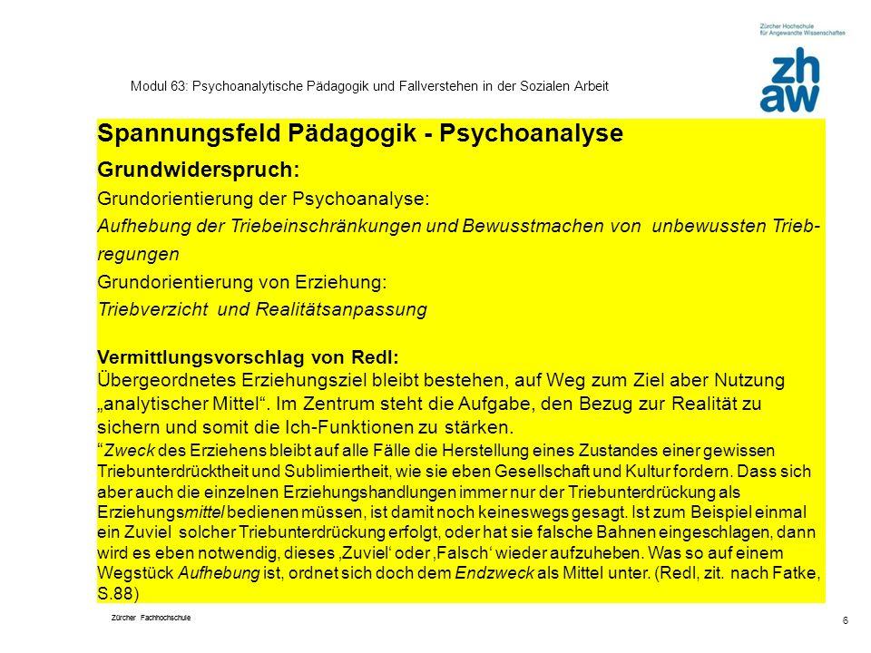 Spannungsfeld Pädagogik - Psychoanalyse