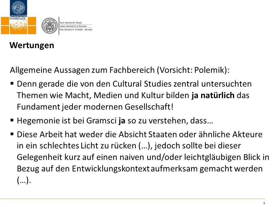 Wertungen Allgemeine Aussagen zum Fachbereich (Vorsicht: Polemik):