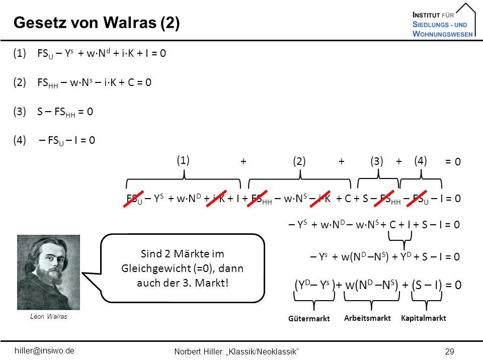 Gesetz von Walras (2) (YD– Ys )+ w(ND –NS) + (S – I) = 0