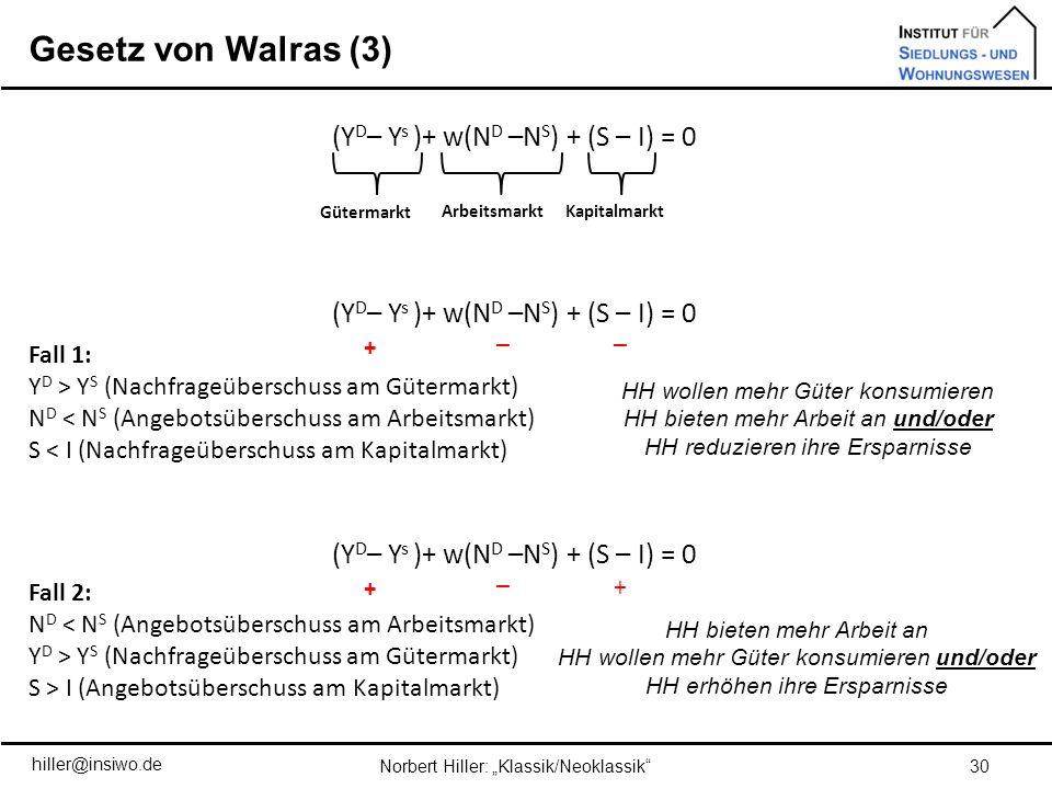 Gesetz von Walras (3) (YD– Ys )+ w(ND –NS) + (S – I) = 0