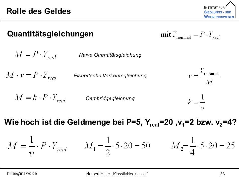 Quantitätsgleichungen