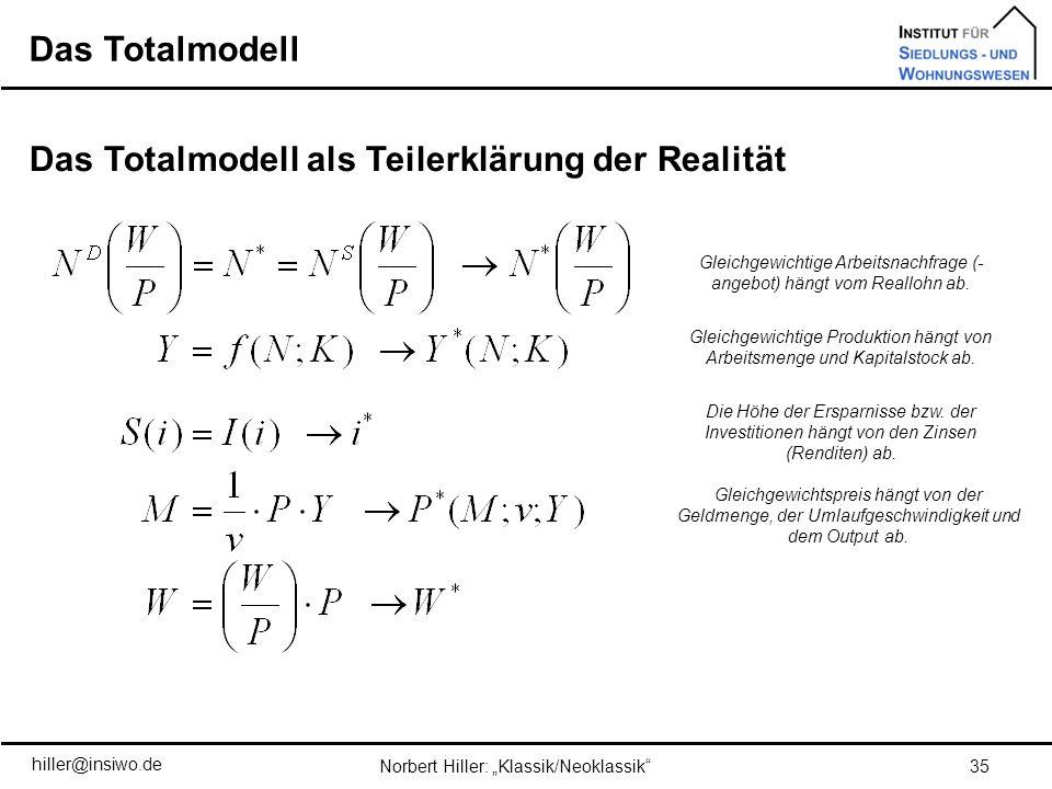 Das Totalmodell als Teilerklärung der Realität