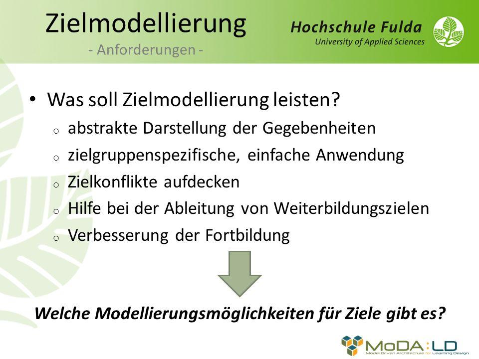 Zielmodellierung - Anforderungen -