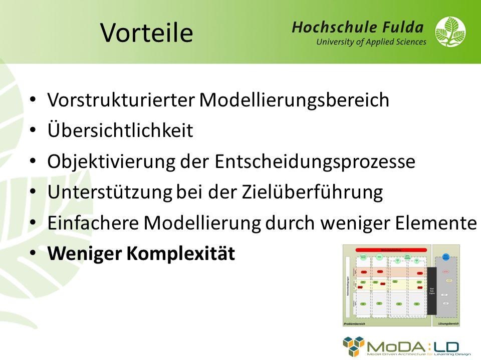 Vorteile Vorstrukturierter Modellierungsbereich Übersichtlichkeit