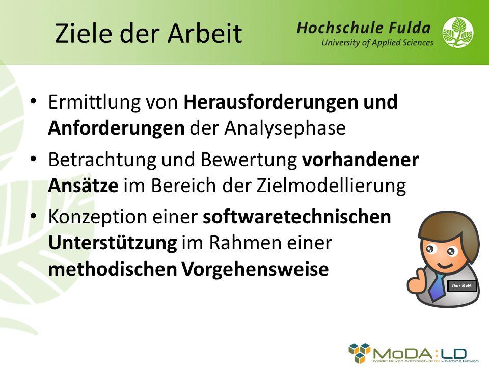 Ziele der Arbeit Ermittlung von Herausforderungen und Anforderungen der Analysephase.