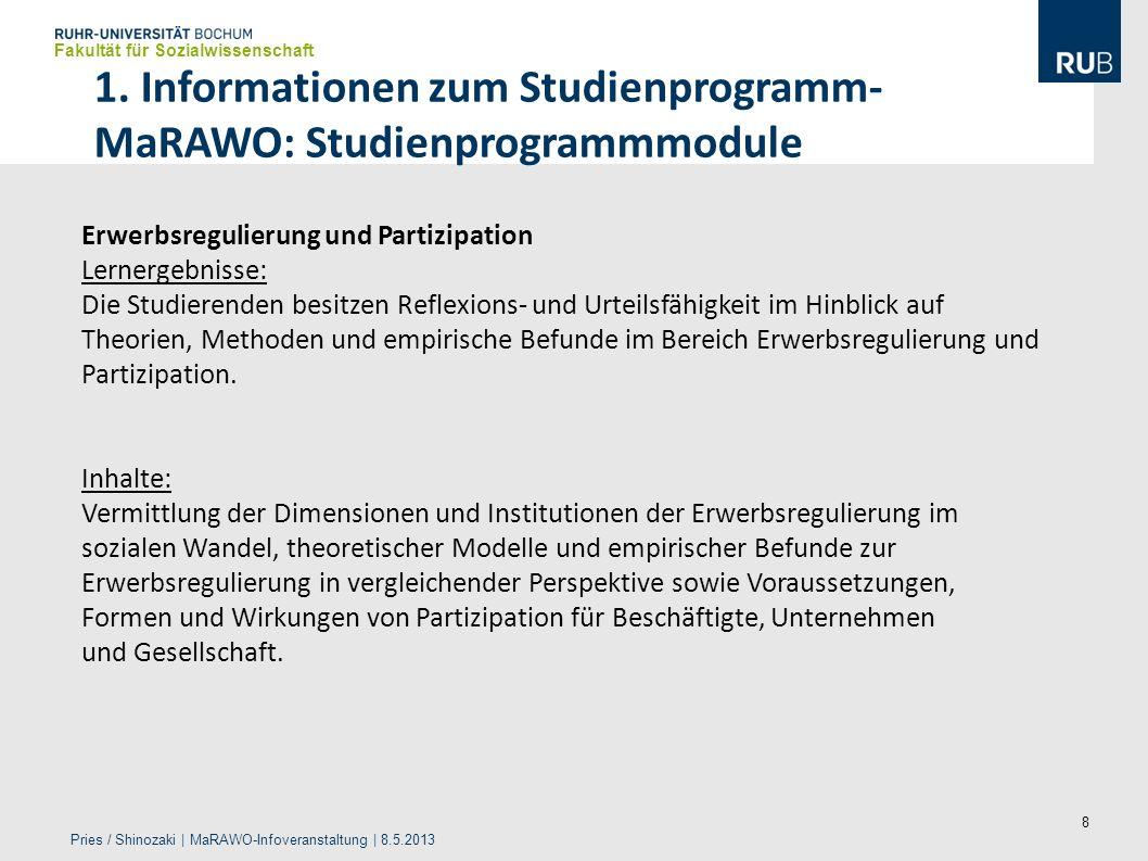 1. Informationen zum Studienprogramm-MaRAWO: Studienprogrammmodule