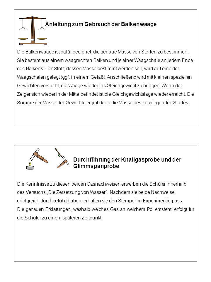 Anleitung zum Gebrauch der Balkenwaage