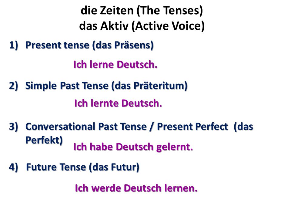 die Zeiten (The Tenses) das Aktiv (Active Voice)