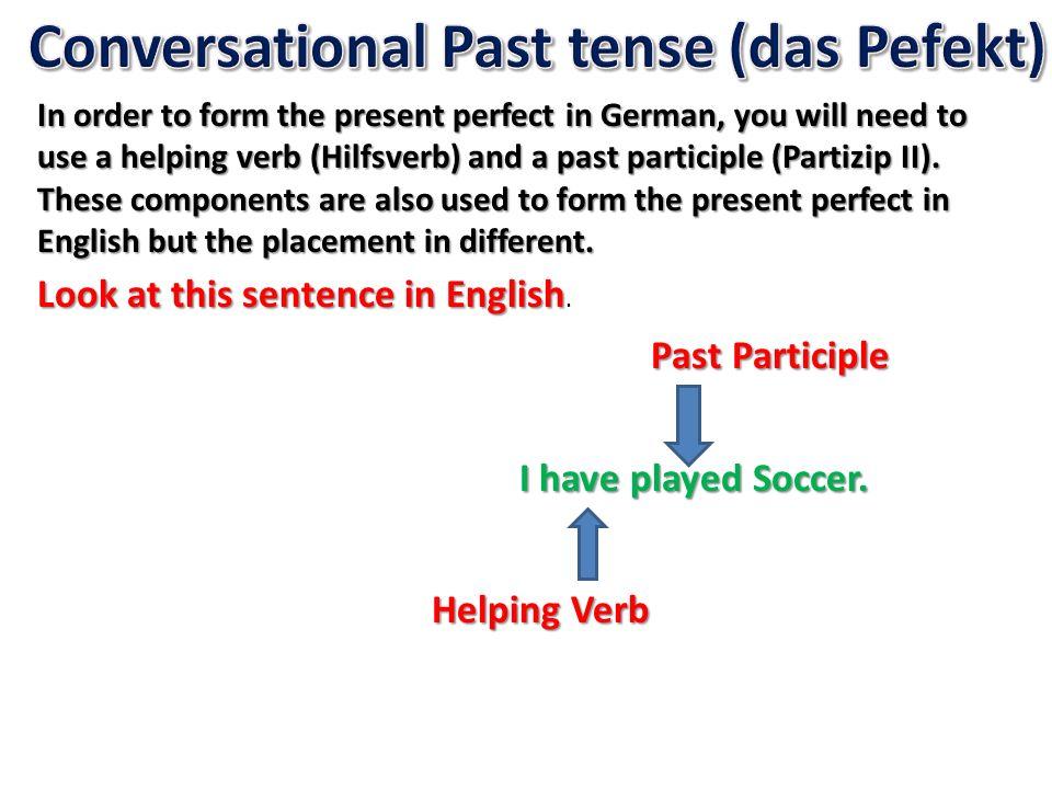 Conversational Past tense (das Pefekt)