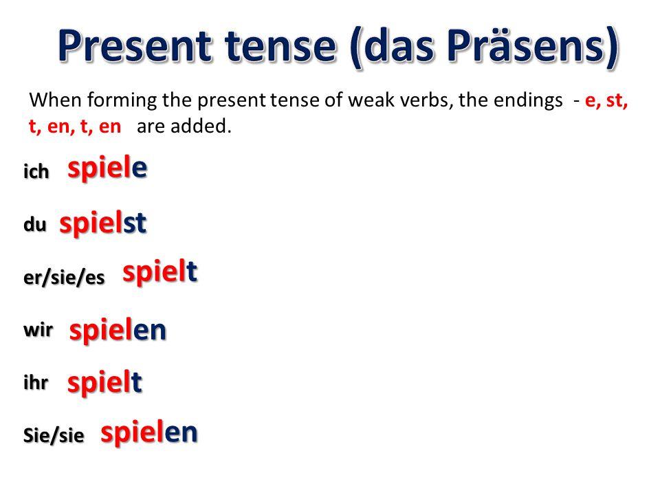 Present tense (das Präsens)