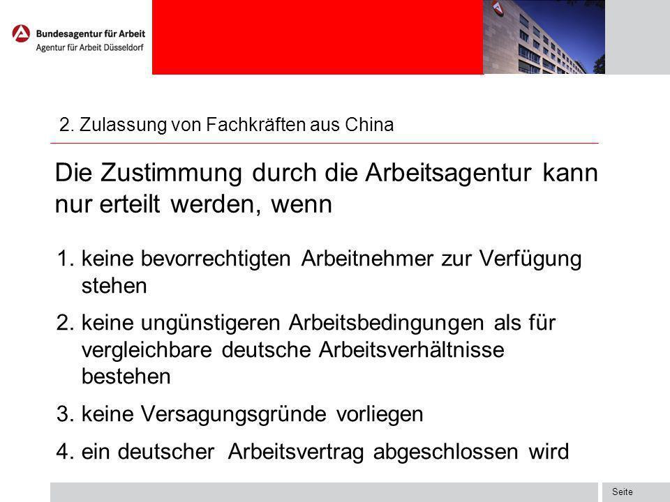 2. Zulassung von Fachkräften aus China