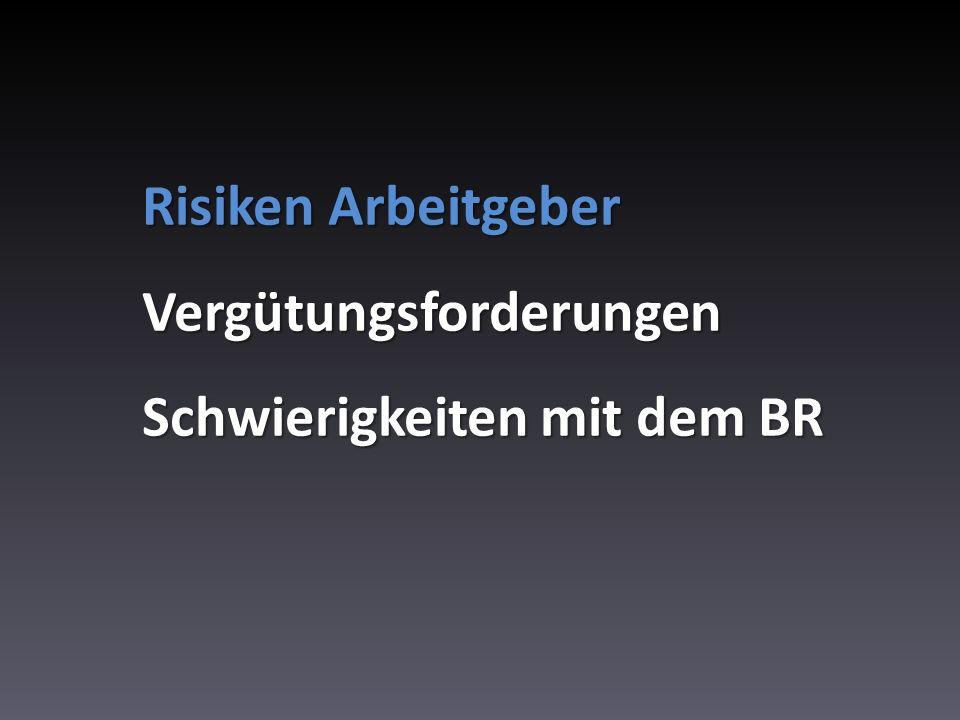 Risiken Arbeitgeber Vergütungsforderungen Schwierigkeiten mit dem BR
