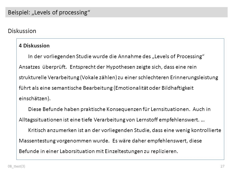 "Beispiel: ""Levels of processing"
