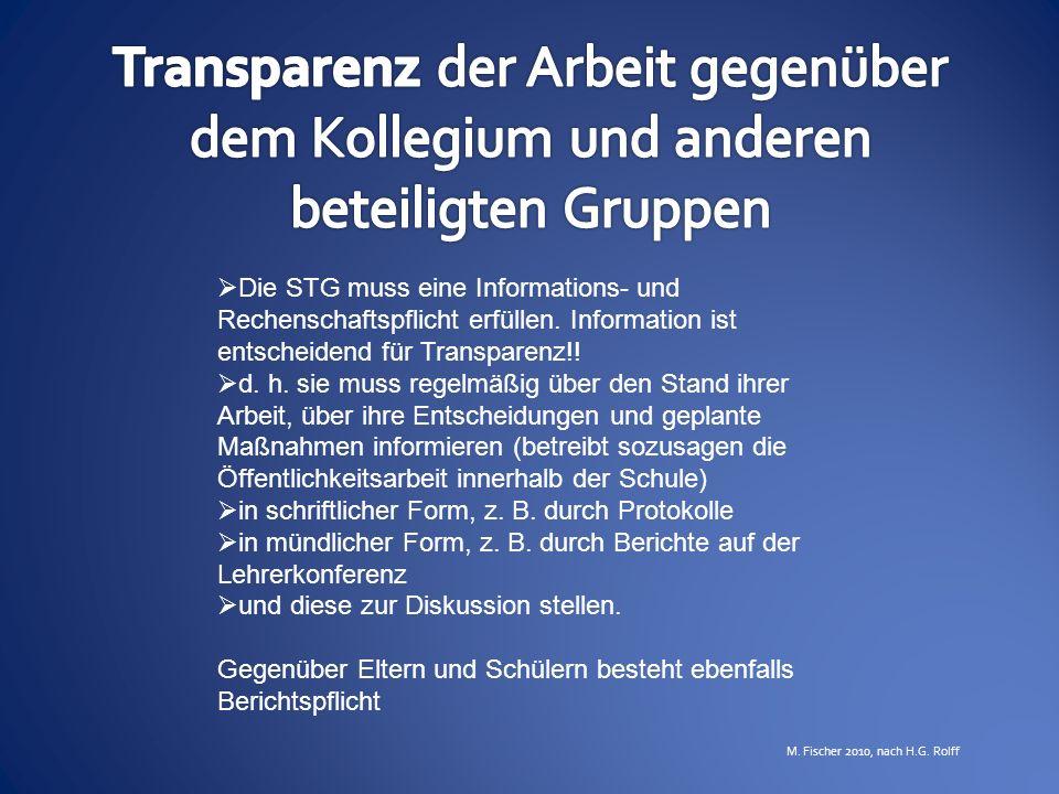 Transparenz der Arbeit gegenüber dem Kollegium und anderen beteiligten Gruppen