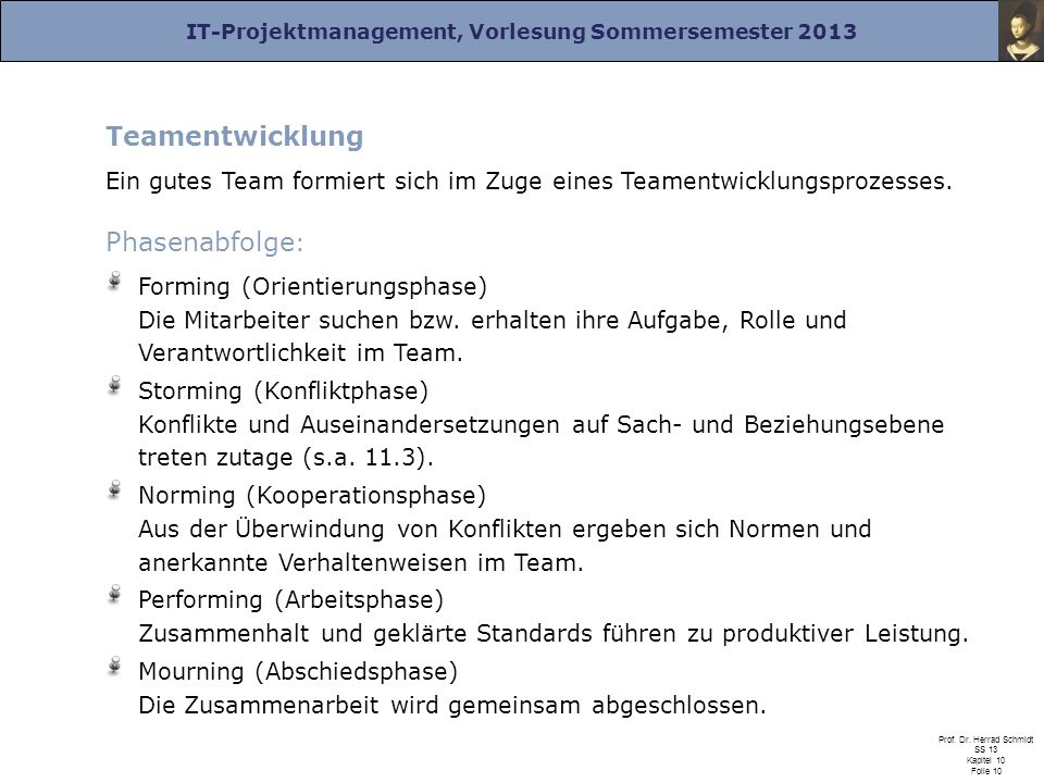 Teamentwicklung Phasenabfolge: