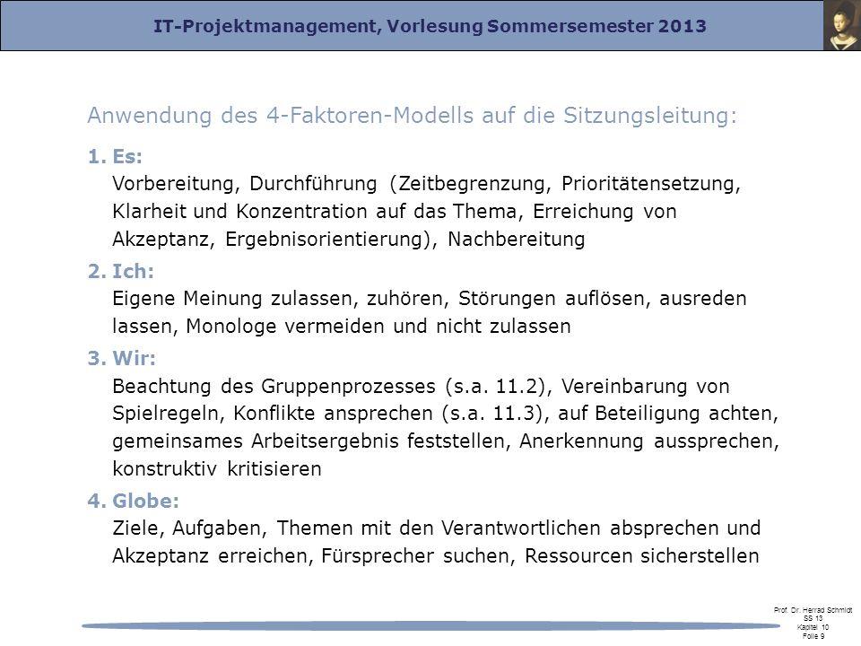 Anwendung des 4-Faktoren-Modells auf die Sitzungsleitung: