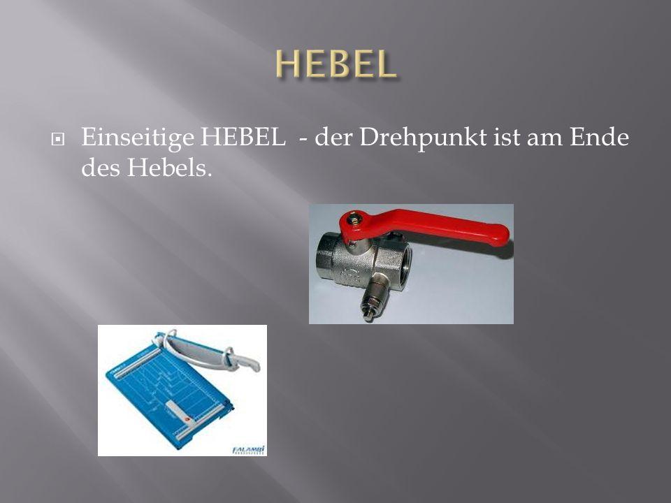 HEBEL Einseitige HEBEL - der Drehpunkt ist am Ende des Hebels.