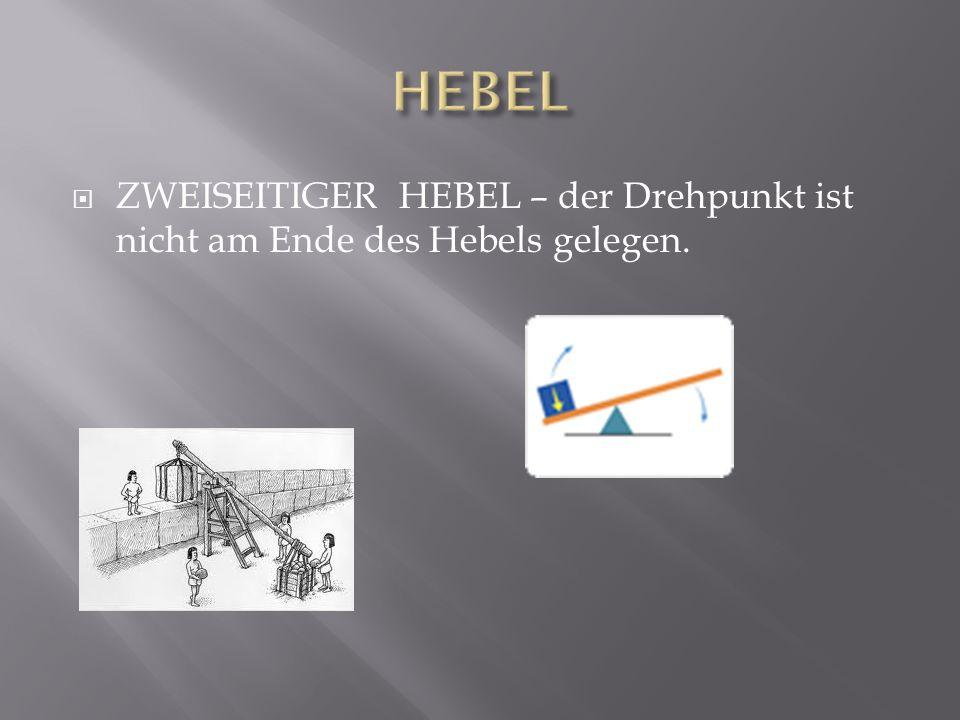 HEBEL ZWEISEITIGER HEBEL – der Drehpunkt ist nicht am Ende des Hebels gelegen.