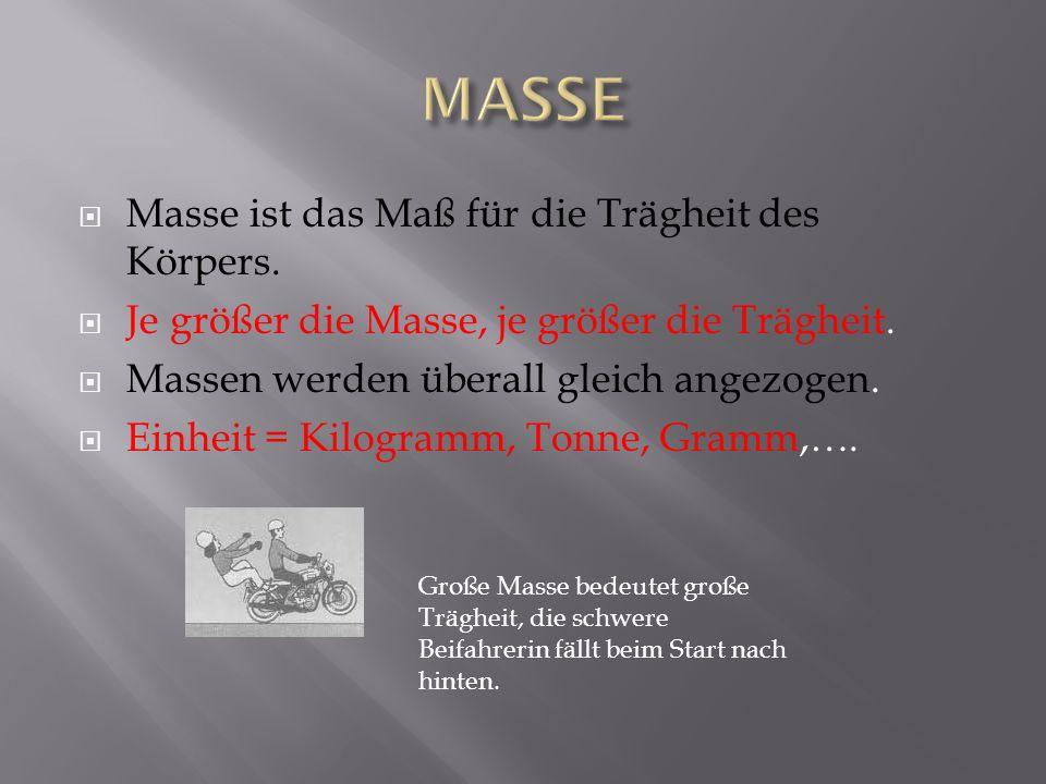MASSE Masse ist das Maß für die Trägheit des Körpers.