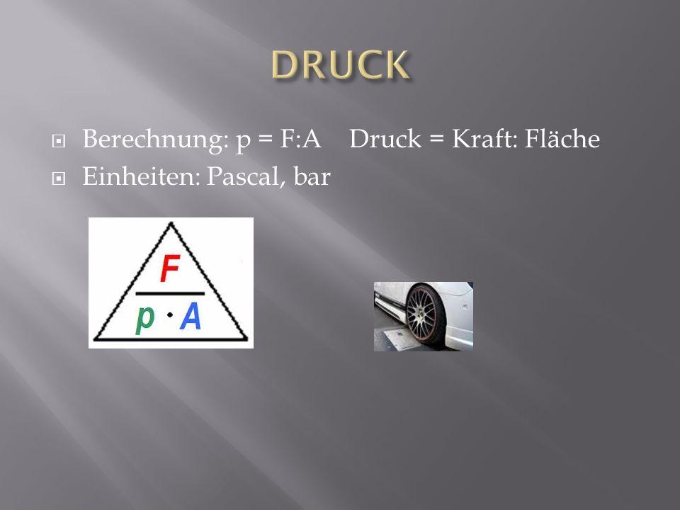 DRUCK Berechnung: p = F:A Druck = Kraft: Fläche Einheiten: Pascal, bar