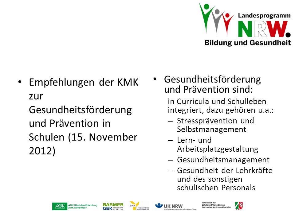 Empfehlungen der KMK zur Gesundheitsförderung und Prävention in Schulen (15. November 2012)