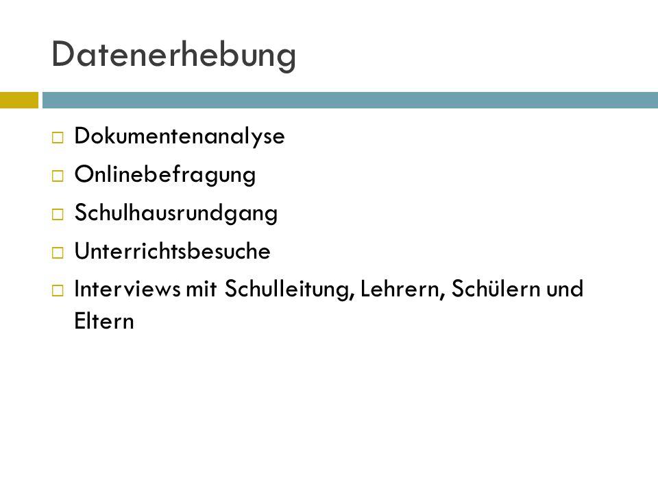 Datenerhebung Dokumentenanalyse Onlinebefragung Schulhausrundgang