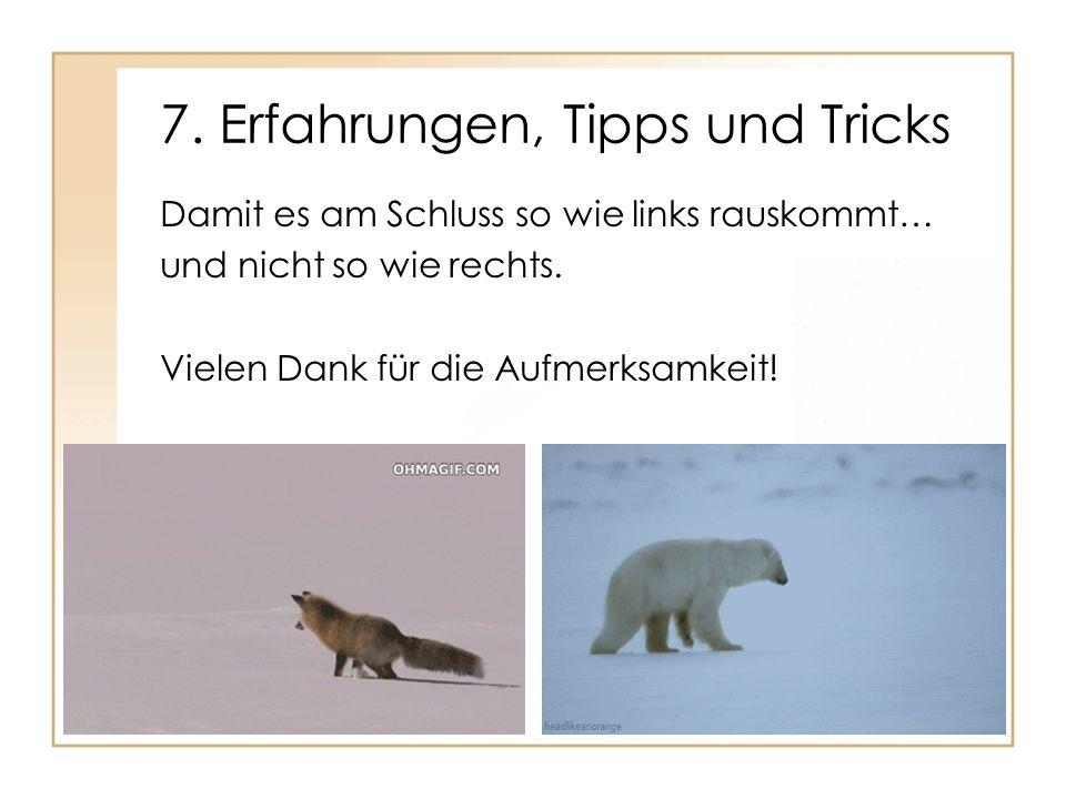 7. Erfahrungen, Tipps und Tricks