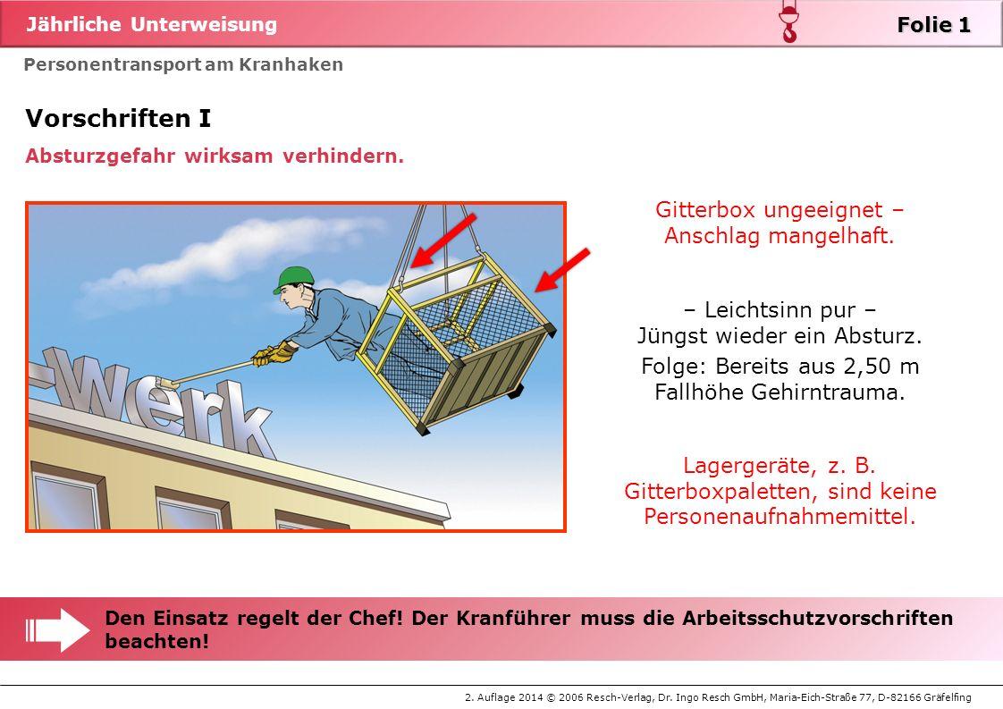 Vorschriften I Gitterbox ungeeignet – Anschlag mangelhaft.
