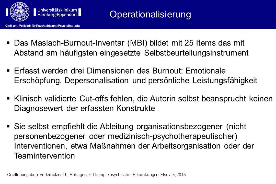 Operationalisierung Klinik und Poliklinik für Psychiatrie und Psychotherapie.
