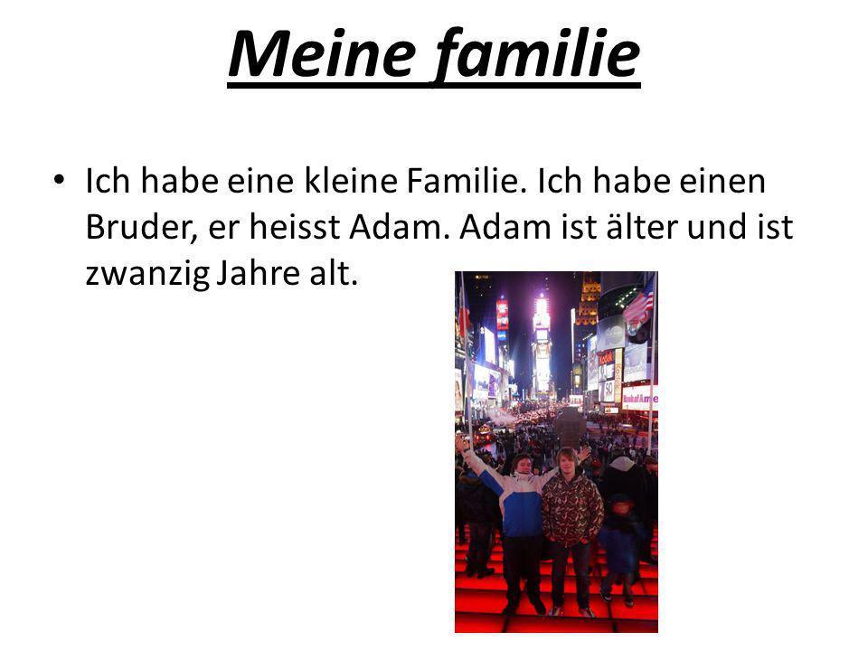 Meine familieIch habe eine kleine Familie.Ich habe einen Bruder, er heisst Adam.