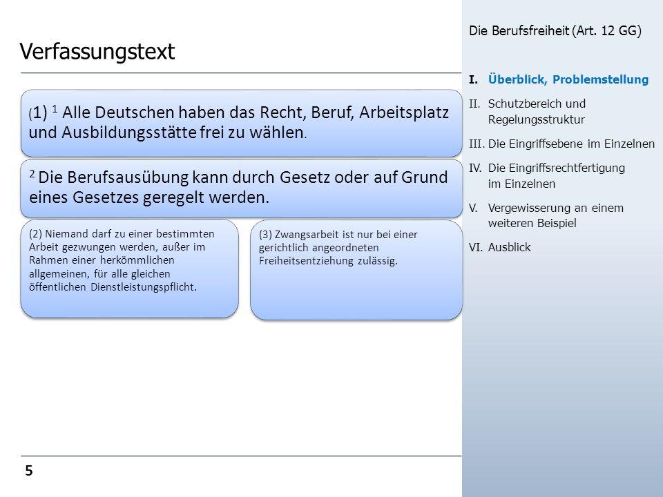 Verfassungstext Die Berufsfreiheit (Art. 12 GG) I. Überblick, Problemstellung. Schutzbereich und Regelungsstruktur.