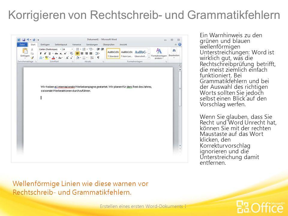 Korrigieren von Rechtschreib- und Grammatikfehlern