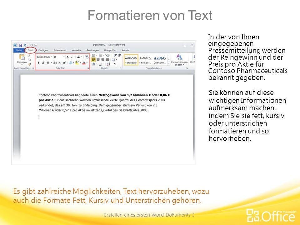 Erstellen eines ersten Word-Dokuments I