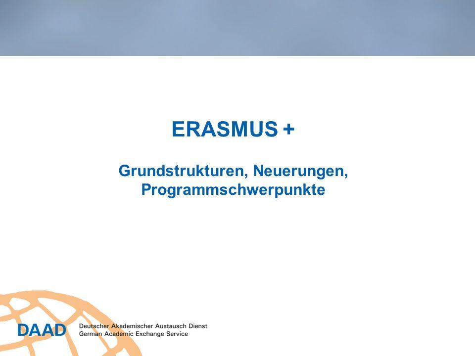 ERASMUS + Grundstrukturen, Neuerungen, Programmschwerpunkte