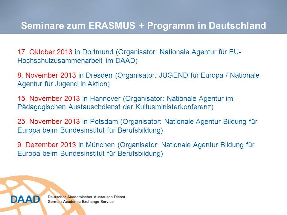 Seminare zum ERASMUS + Programm in Deutschland