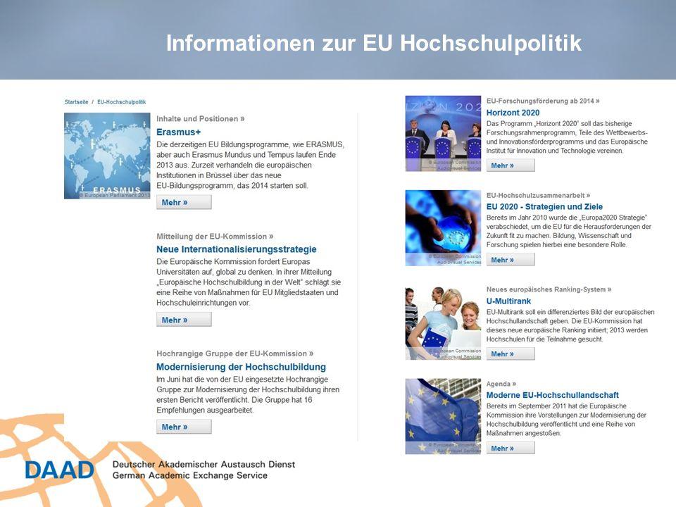 Informationen zur EU Hochschulpolitik