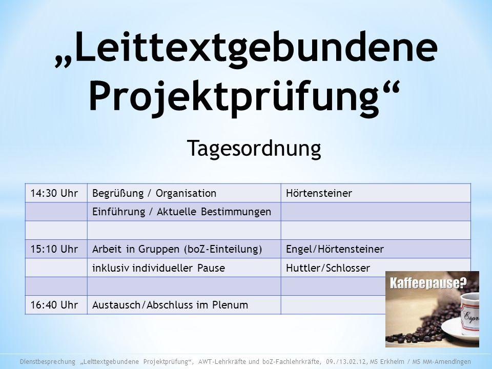 """""""Leittextgebundene Projektprüfung"""