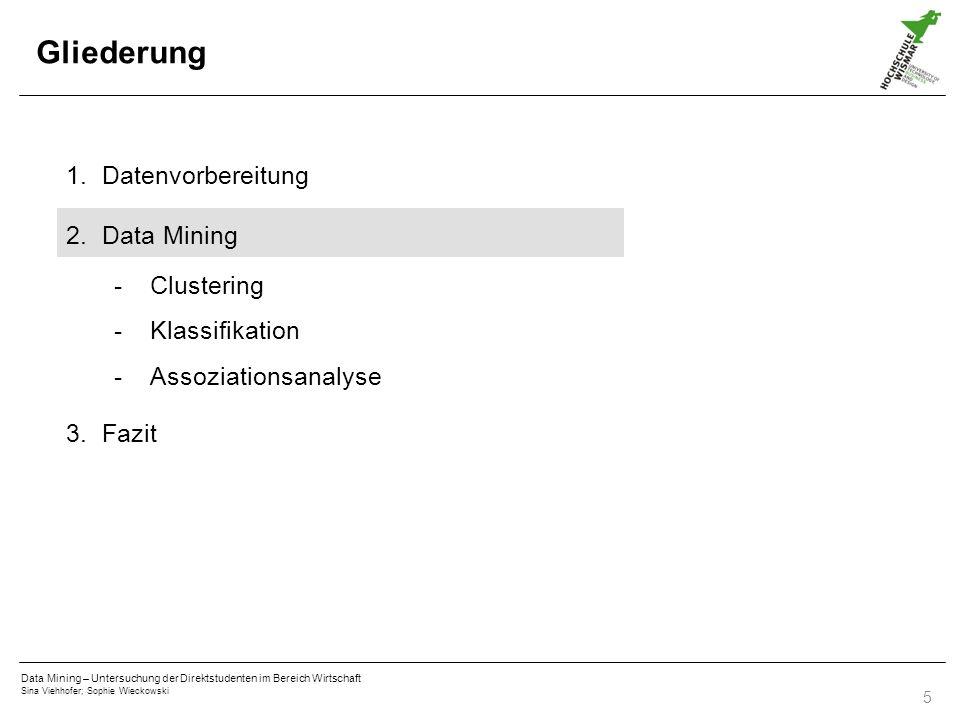 Gliederung Datenvorbereitung Data Mining Clustering Klassifikation