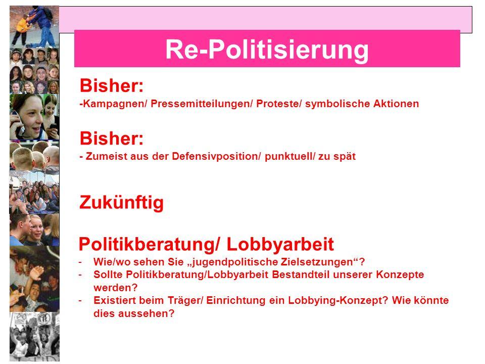 Re-Politisierung Bisher: Bisher: Politikberatung/ Lobbyarbeit