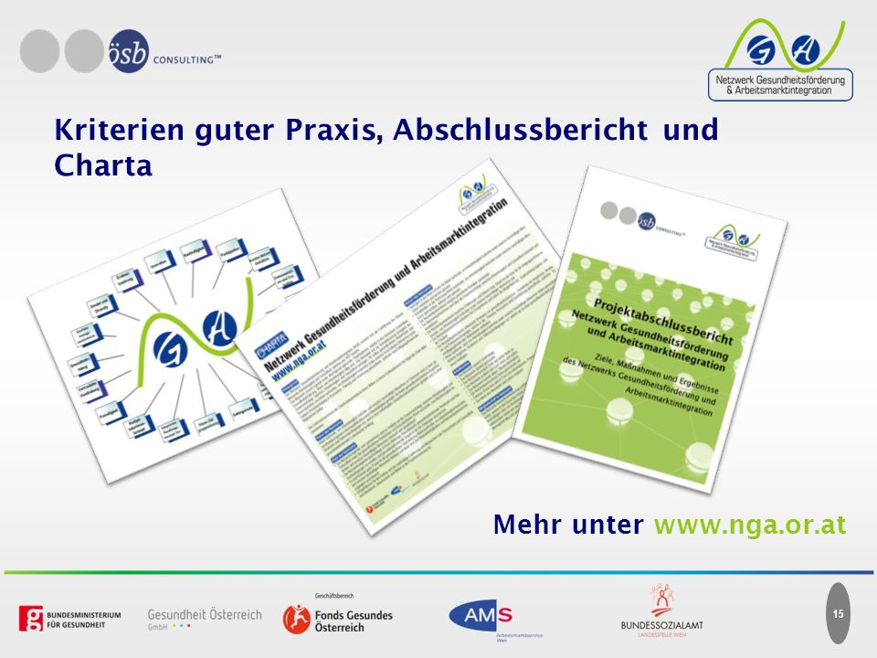 Kriterien guter Praxis, Abschlussbericht und Charta