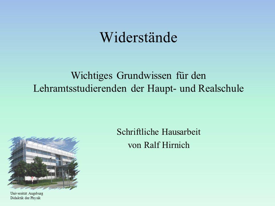 Schriftliche Hausarbeit von Ralf Hirnich
