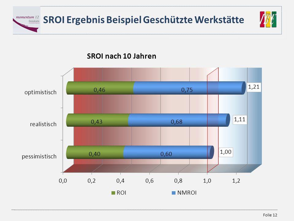 SROI Ergebnis Beispiel Geschützte Werkstätte