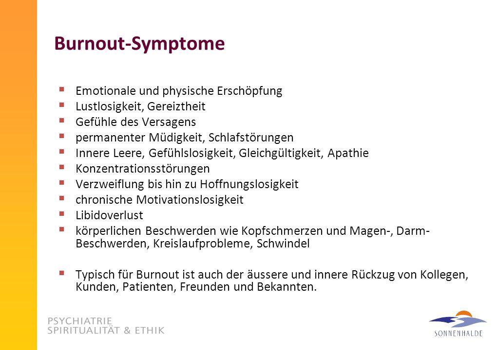 Burnout-Symptome Emotionale und physische Erschöpfung