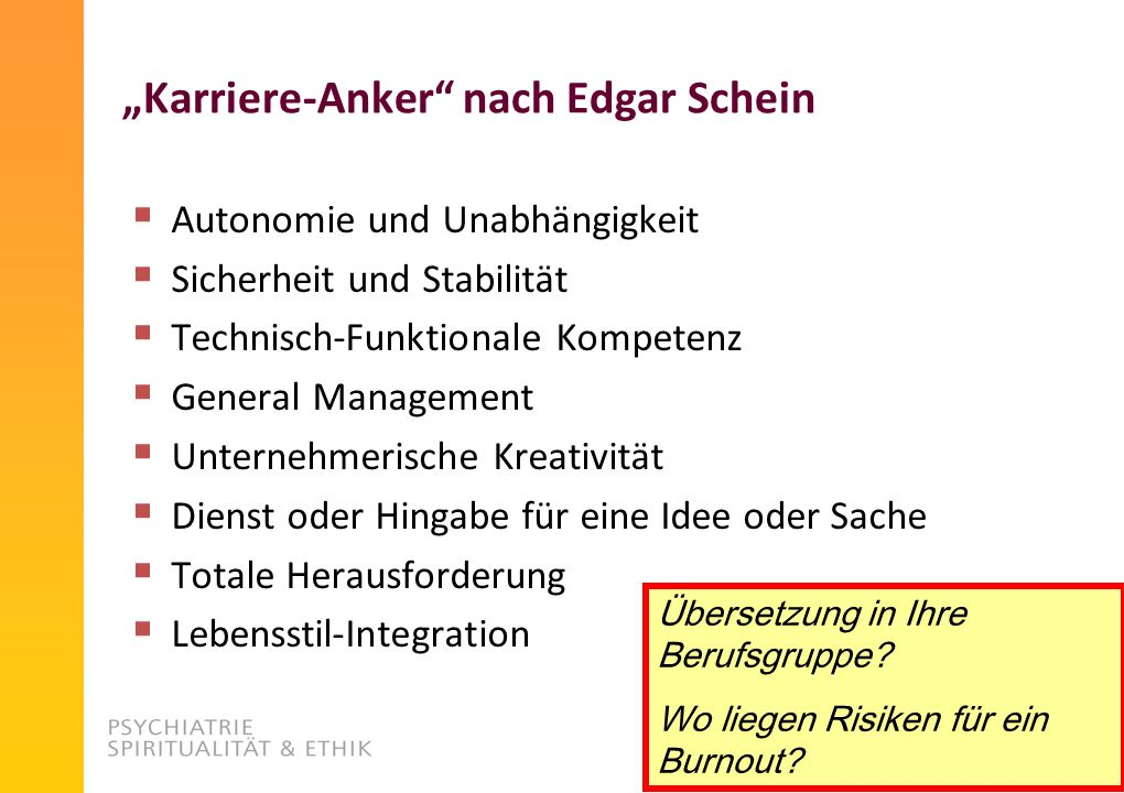 """""""Karriere-Anker nach Edgar Schein"""