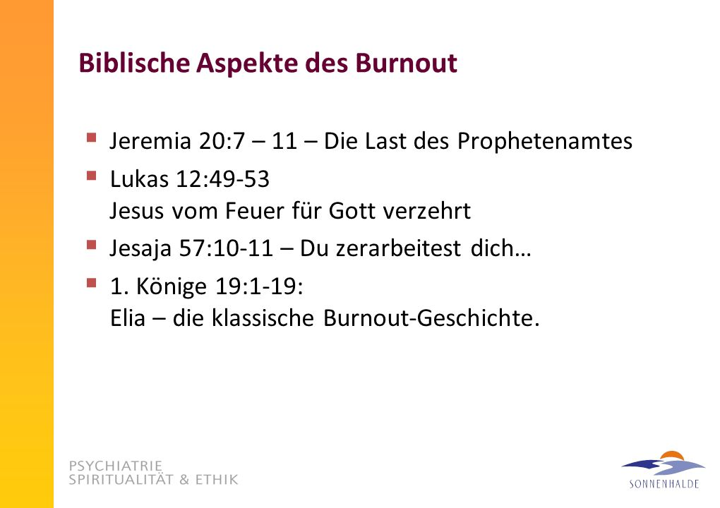 Biblische Aspekte des Burnout