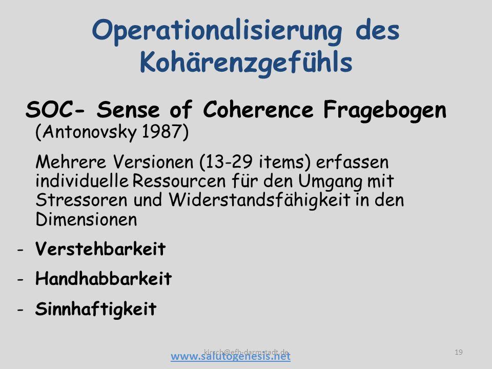 Operationalisierung des Kohärenzgefühls