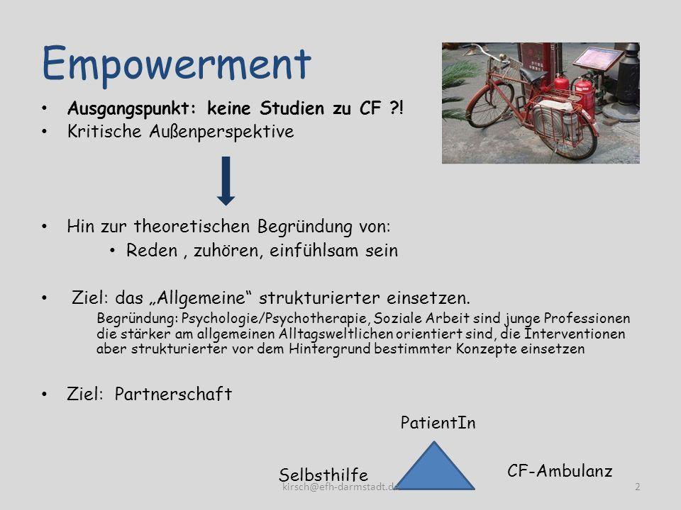 Empowerment Ausgangspunkt: keine Studien zu CF !