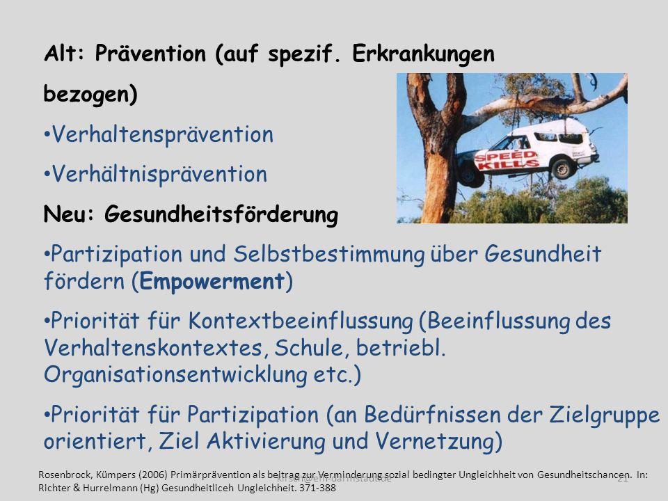 Alt: Prävention (auf spezif. Erkrankungen bezogen)