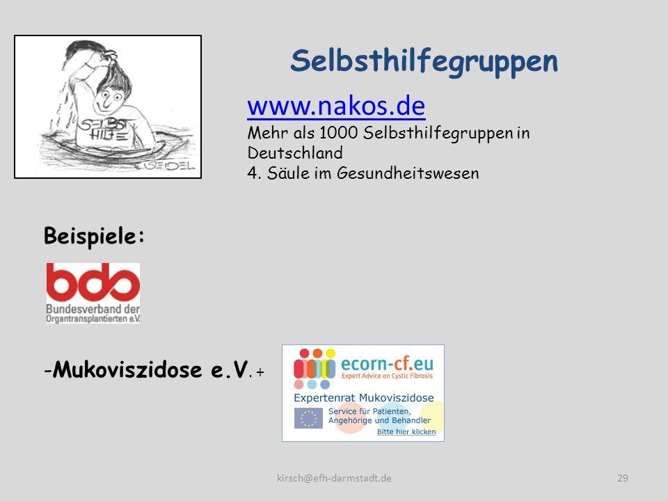 Selbsthilfegruppen www.nakos.de Beispiele: Mukoviszidose e.V. +